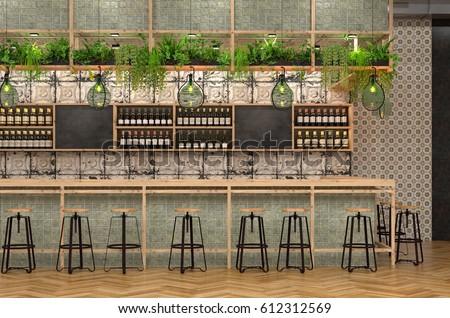 Modern Design Bar Loft Style 3d Stock Illustration 612312569 ...