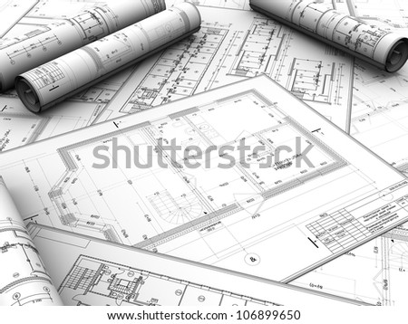 Modern design project of new building - stock photo