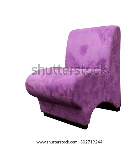 Modern design recliner pink chair, isolated on white background - stock photo