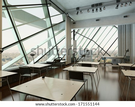 Modern design university interior / conference room - stock photo