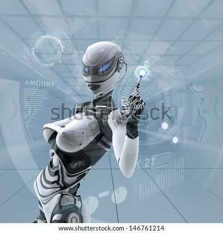 Modern designed interior. Futuristic female android managing virtual interface in digital space - stock photo