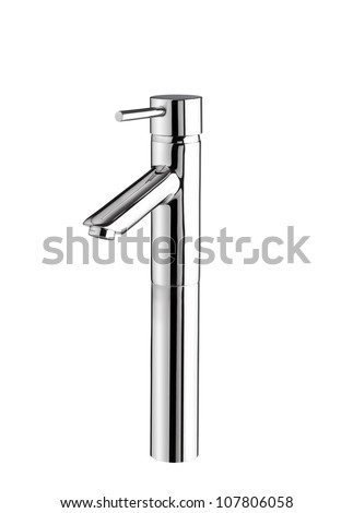 Modern designed of chrome faucet - stock photo