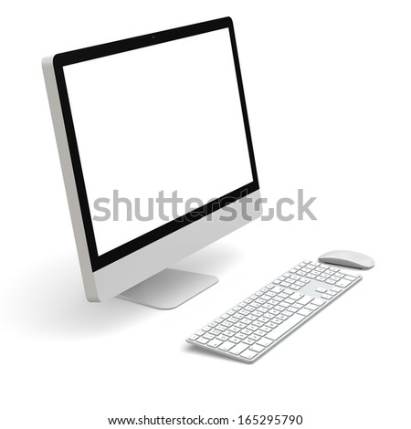 Modern desktop computer with white blank screen isolated on white background