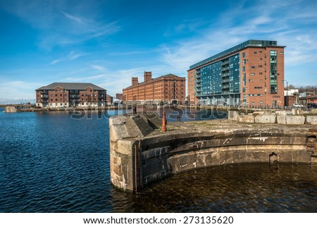 Modern development along the Princes half tide and Waterloo docks in Liverpool. - stock photo