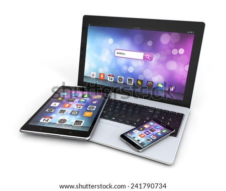 modern devices laptop, smartphone, tablet isolated white background with clipping path - stock photo