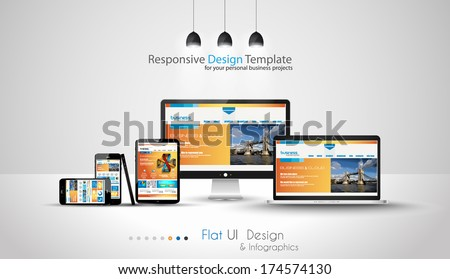 Modern devices mockups fpr your business projects. webtemplates included. - stock photo