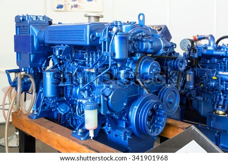 Modern diesel engine used on marine industry closeup - stock photo