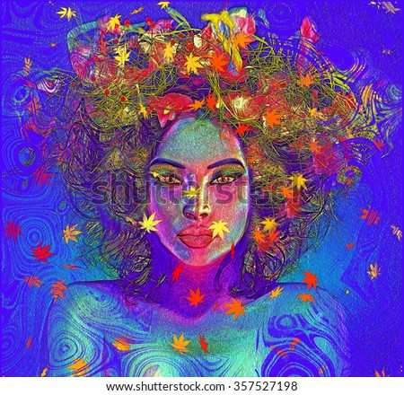 Modern digital art image of a woman's face, close up with colorful abstract background.Colorful leaves and swirls create an abstract effect for this beautiful Earth Goddess woman's close up face.  - stock photo