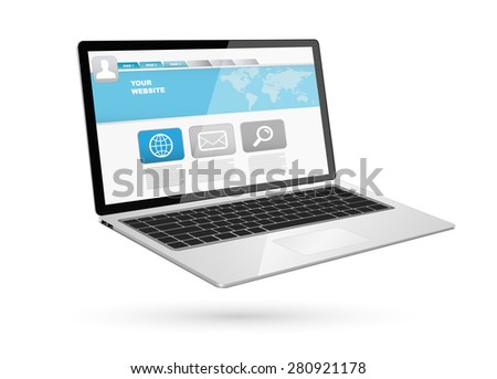 Modern digital black and silver computer on white background
