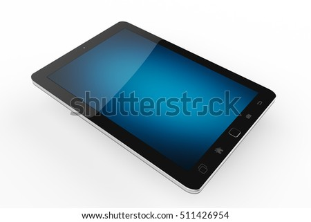 Modern digital black tablet on white background with blue screen 3D rendering