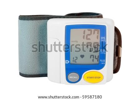 modern digital blood pressure measurement equipment on a white background - stock photo
