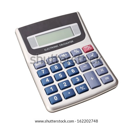 Modern digital calculator for calculations. Business. On a white background. - stock photo