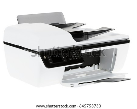 Modern digital printer isolated on white background