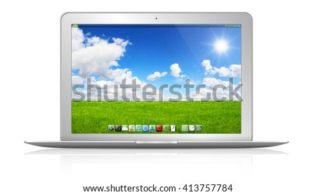 Modern digital silver and black laptop on white background '3D rendering'
