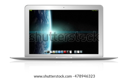 Modern digital silver and black laptop on white background 3D rendering elements of this image furnished by NASA