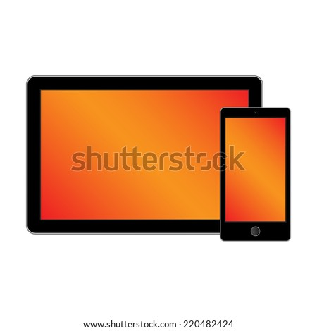 Modern digital tablet PC with mobile smartphone isolated on white.