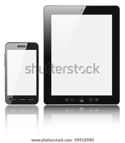 Modern digital tablet PC with mobile smartphone isolated on white with clipping path. - stock photo