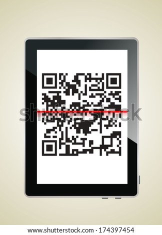 Modern digital tablet showing quick response code pattern scanner on the screen. - stock photo