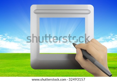Modern digital tablet with grass and clouds background - stock photo