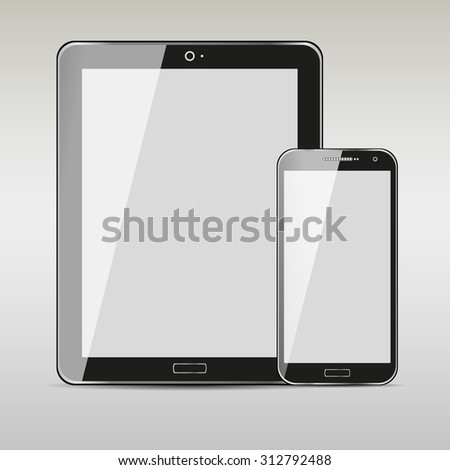 Modern digital tablet with mobile smartphone isolated on grey background. stock  - stock photo