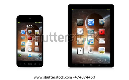Modern digital tactile phone and tablet on white background 3D rendering