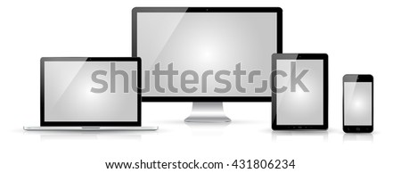 Modern digital tech device on white background '3D rendering' - stock photo