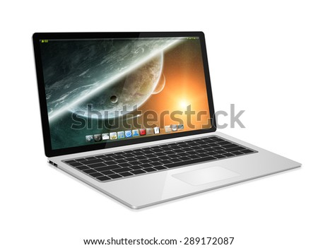 Modern digital tech device on white background 'elements of this image furnished by NASA'