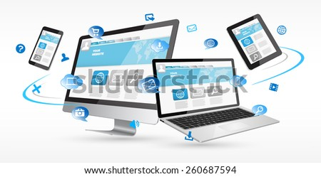 Modern digital tech device with chart on white background - stock photo