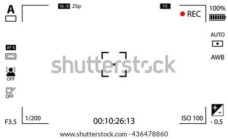 Modern digital video camera focusing screen with settings. White viewfinder camera recording - stock photo