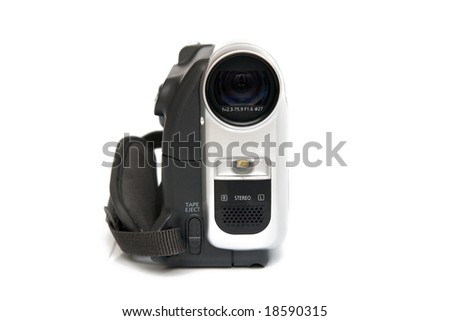 modern digital video camera isolated on white