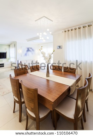 Modern dining and living room - stock photo