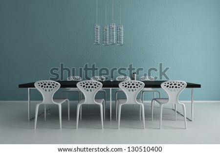 modern dining room interior - stock photo