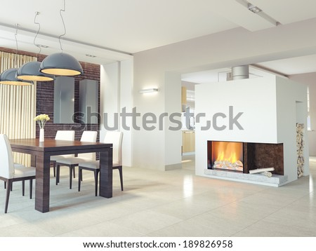 modern dining room interior. 3d concept - stock photo