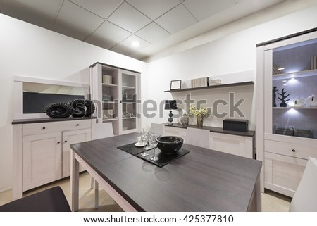 Modern dining room interior in the evening