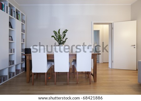 modern dining-room, interior view - stock photo