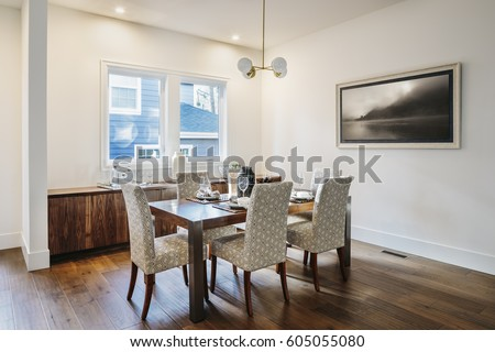 Modern dining room, seating for six