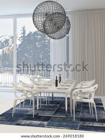 Modern Dining Room with White Table and Chairs and Globe Light Fixtures and View of Snowy Mountains Through Windows. 3d Rendering. - stock photo