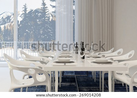 Modern Dining Room with White Table and Chairs Set for Meal with Wine Inside Home with Winter Landscape View. 3d Rendering. - stock photo