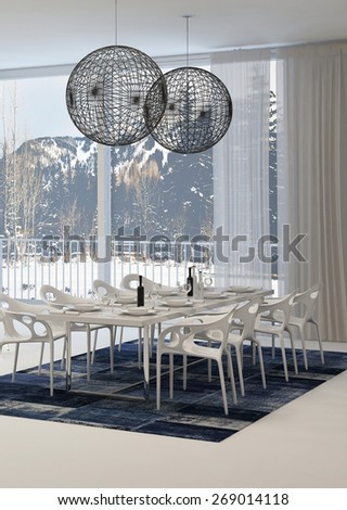Modern Dining Room with White Table and Globe Light Fixtures with View of Snowy Mountains Through Windows. 3d Rendering. - stock photo