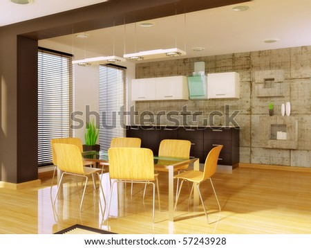 modern dining room with wood chair and glass table