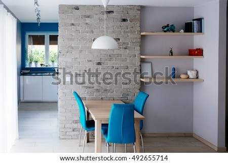 Modern Dining Room Wooden Table Turquoise Stock Photo 492655714