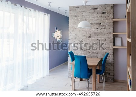 Modern Dining Room Wooden Table Turquoise Stock Photo 492655726
