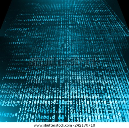 Modern display of data source code. Programming code abstract screen of software developer. Computer script. Blue dark color. - stock photo