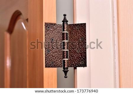 modern door hinge portrait - stock photo