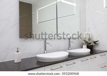 Modern double bathroom interior - stock photo