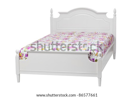 Modern double bed with cotton sheet . With clipping path - stock photo