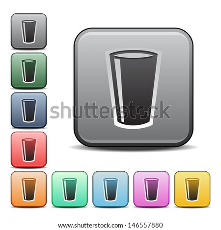 Modern Drinking Glass Icon with Color Variations.  Raster version, vector also available. - stock photo