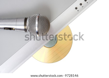 Modern dvd player with karaoke function and microphone - stock photo