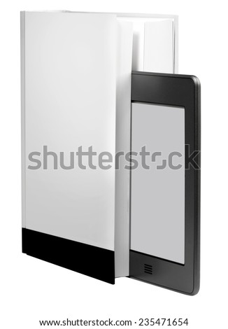 modern ebook reader with book - stock photo
