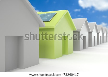 Modern eco house standing out from the crowd - stock photo